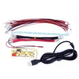 Zero delay LED USB encoder - 1 player - 2.8mm connectors - bundle