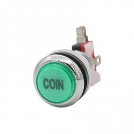 Illuminated chrome push button Coin - Green
