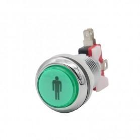 Illuminated chrome push button 1 Player - Green