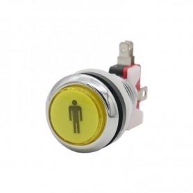 Illuminated chrome push button 1 Player - Yellow