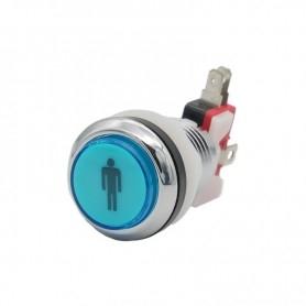 Illuminated chrome push button 1 Player - Blue