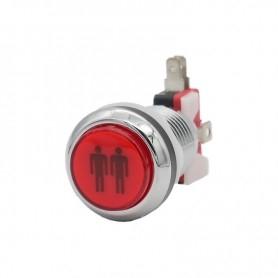 Illuminated chrome push button 2 Players - Red