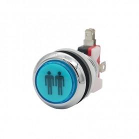 Illuminated chrome push button 2 Players - Blue