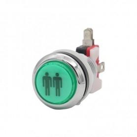 Illuminated chrome push button 2 Players - Green