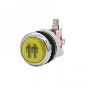Illuminated chrome push button 2 Players - Yellow