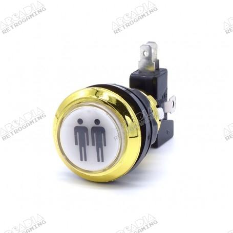Gold illuminated push button 2 Players - White