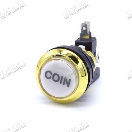 Gold Illuminated Coin Push Button - White