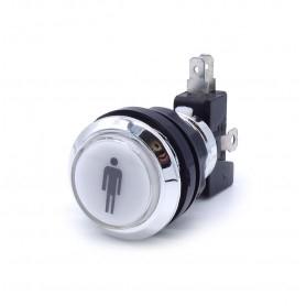 Illuminated chrome push button 1 Player - White