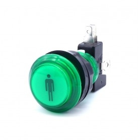 Transparent illuminated push button 1 Player - Green