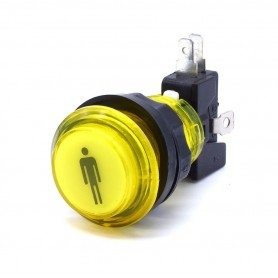 Bouton poussoir lumineux transparent 1 Player - Jaune