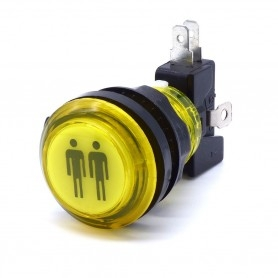 Transparent illuminated push button 2 Players - Yellow