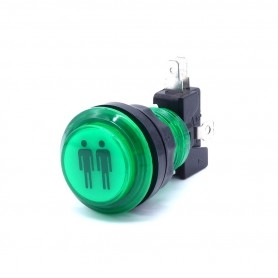 Transparent illuminated push button 2 Players - Green