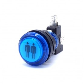 Bouton poussoir lumineux transparent 2 Players - Bleu