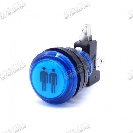 Transparent illuminated push button 2 Players - Blue
