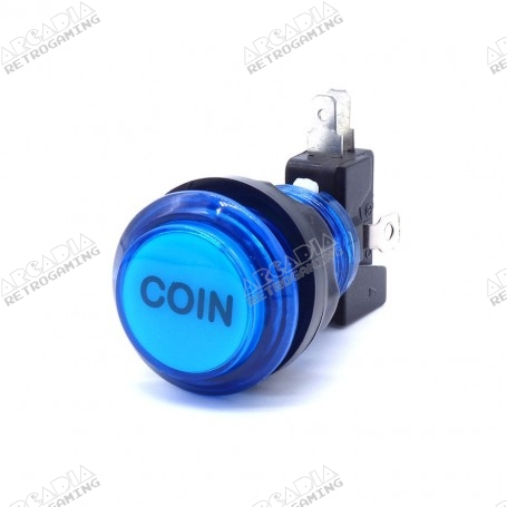 Bouton poussoir lumineux transparent Coin - Bleu