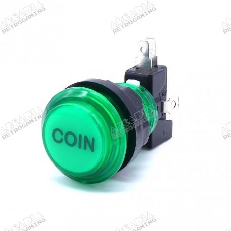 Transparent illuminated push button Coin - Green