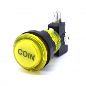 Bouton poussoir lumineux transparent Coin - Jaune