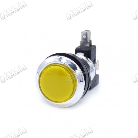 Illuminated chrome push button - Yellow