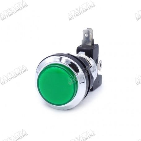Illuminated chrome push button - Green
