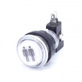 Transparent illuminated push button 2 Players - White